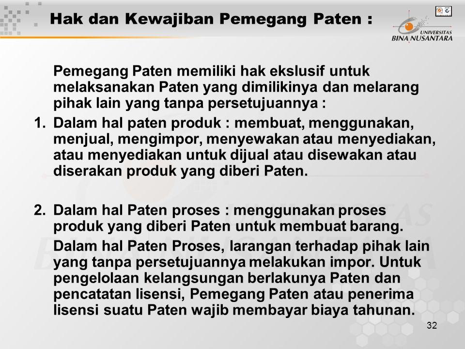 32 Hak dan Kewajiban Pemegang Paten : Pemegang Paten memiliki hak ekslusif untuk melaksanakan Paten yang dimilikinya dan melarang pihak lain yang tanp
