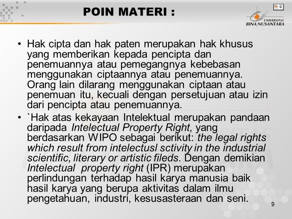 9 POIN MATERI : Hak cipta dan hak paten merupakan hak khusus yang memberikan kepada pencipta dan penemuannya atau pemegangnya kebebasan menggunakan ciptaannya atau penemuannya.