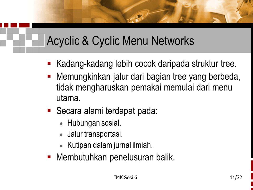 IMK Sesi 611/32 Acyclic & Cyclic Menu Networks  Kadang-kadang lebih cocok daripada struktur tree.  Memungkinkan jalur dari bagian tree yang berbeda,