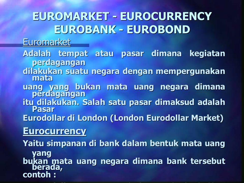 EUROMARKET - EUROCURRENCY EUROBANK - EUROBOND Euromarket Adalah tempat atau pasar dimana kegiatan perdagangan dilakukan suatu negara dengan memperguna
