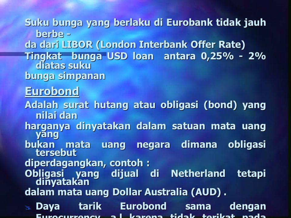 Suku bunga yang berlaku di Eurobank tidak jauh berbe - da dari LIBOR (London Interbank Offer Rate) Tingkat bunga USD loan antara 0,25% - 2% diatas suk