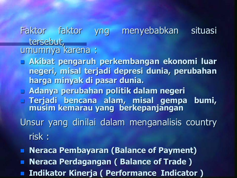 Faktor faktor yng menyebabkan situasi tersebut, umumnya karena : n Akibat pengaruh perkembangan ekonomi luar negeri, misal terjadi depresi dunia, peru