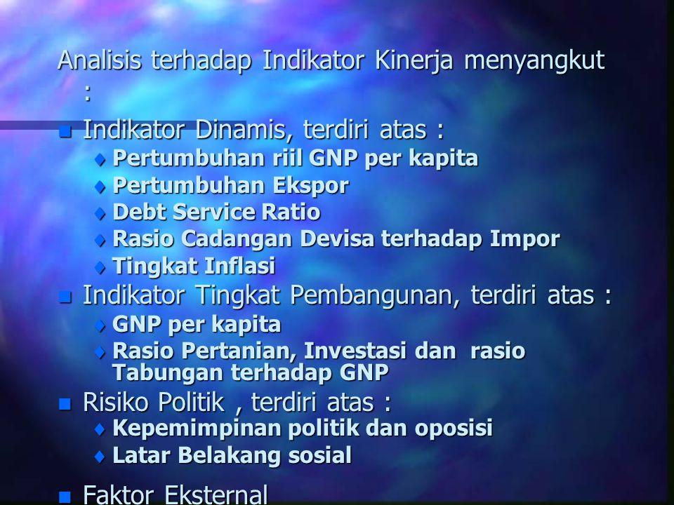 Analisis terhadap Indikator Kinerja menyangkut : n Indikator Dinamis, terdiri atas :  Pertumbuhan riil GNP per kapita  Pertumbuhan Ekspor  Debt Ser