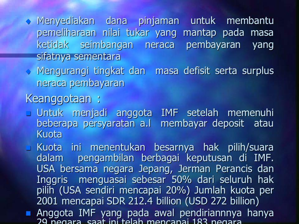 Lain-Lain n Pinjaman dana yang dapat diberikan kepada setiap negara anggota dalam keadaan biasa sampai 125% dari posisi kuota negara yang bersangkutan.