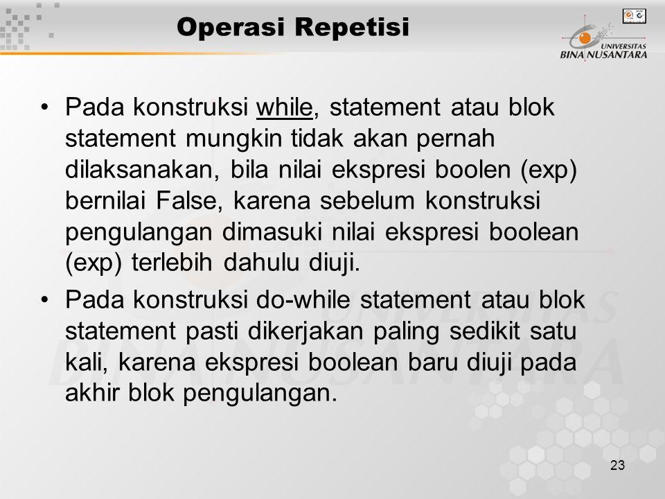 23 Operasi Repetisi Pada konstruksi while, statement atau blok statement mungkin tidak akan pernah dilaksanakan, bila nilai ekspresi boolen (exp) bernilai False, karena sebelum konstruksi pengulangan dimasuki nilai ekspresi boolean (exp) terlebih dahulu diuji.