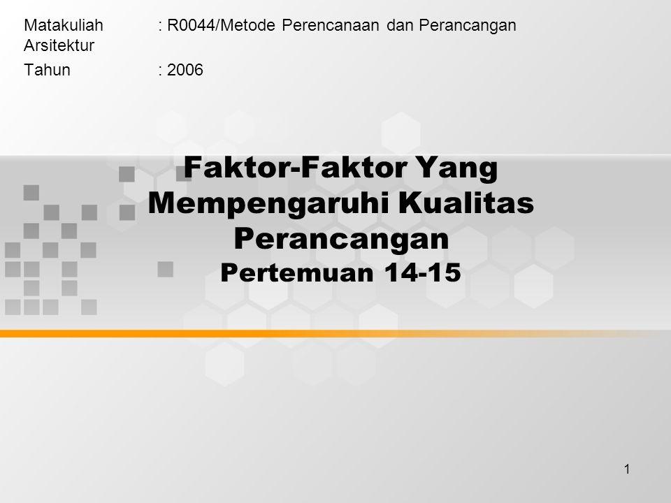 1 Faktor-Faktor Yang Mempengaruhi Kualitas Perancangan Pertemuan 14-15 Matakuliah: R0044/Metode Perencanaan dan Perancangan Arsitektur Tahun: 2006