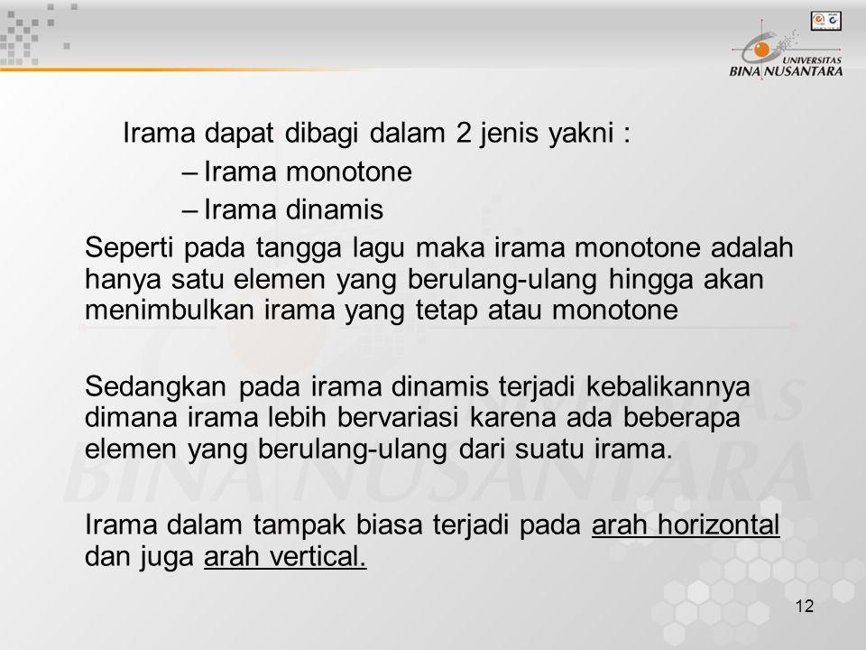 12 Irama dapat dibagi dalam 2 jenis yakni : –Irama monotone –Irama dinamis Seperti pada tangga lagu maka irama monotone adalah hanya satu elemen yang