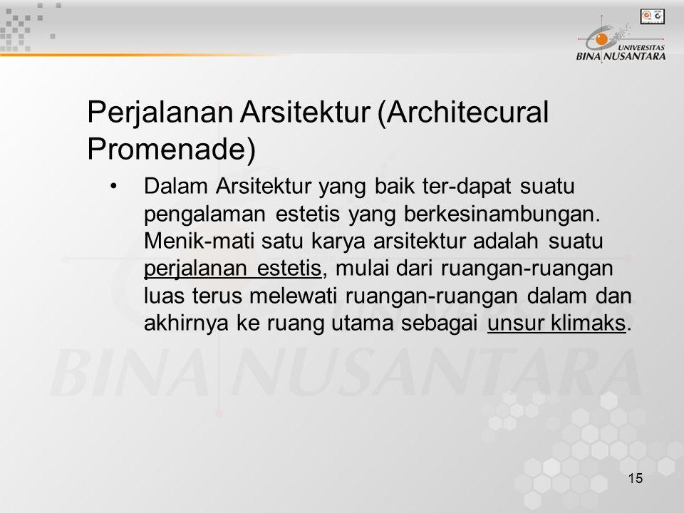 15 Perjalanan Arsitektur (Architecural Promenade) Dalam Arsitektur yang baik ter-dapat suatu pengalaman estetis yang berkesinambungan. Menik-mati satu