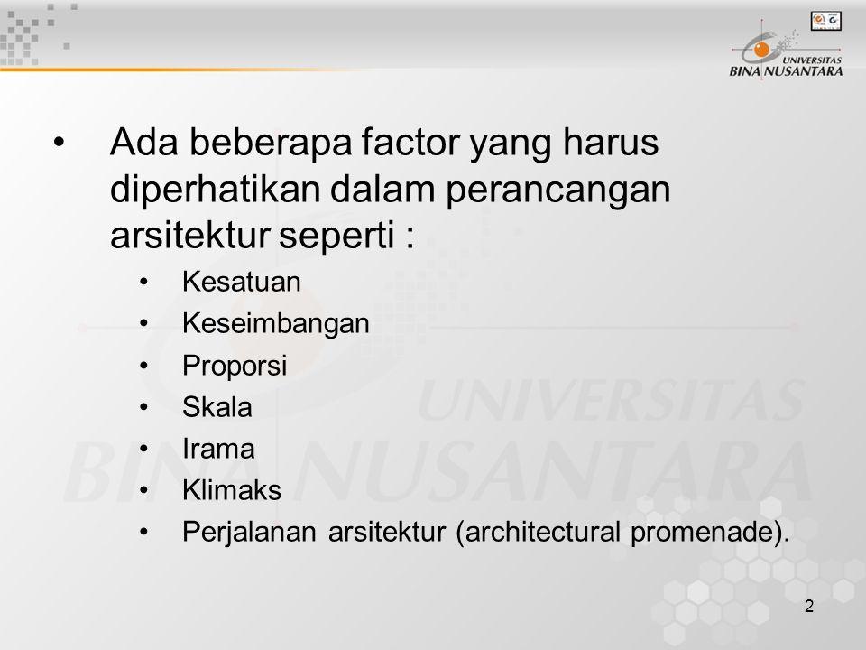 2 Ada beberapa factor yang harus diperhatikan dalam perancangan arsitektur seperti : Kesatuan Keseimbangan Proporsi Skala Irama Klimaks Perjalanan ars