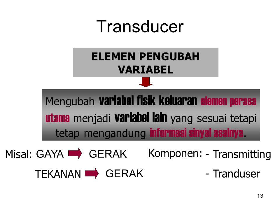 Transducer 13 Misal: GAYAGERAK TEKANAN GERAK Komponen: - Transmitting - Tranduser ELEMEN PENGUBAH VARIABEL Mengubah variabel fisik keluaran elemen perasa utama menjadi variabel lain yang sesuai tetapi tetap mengandung informasi sinyal asalnya.