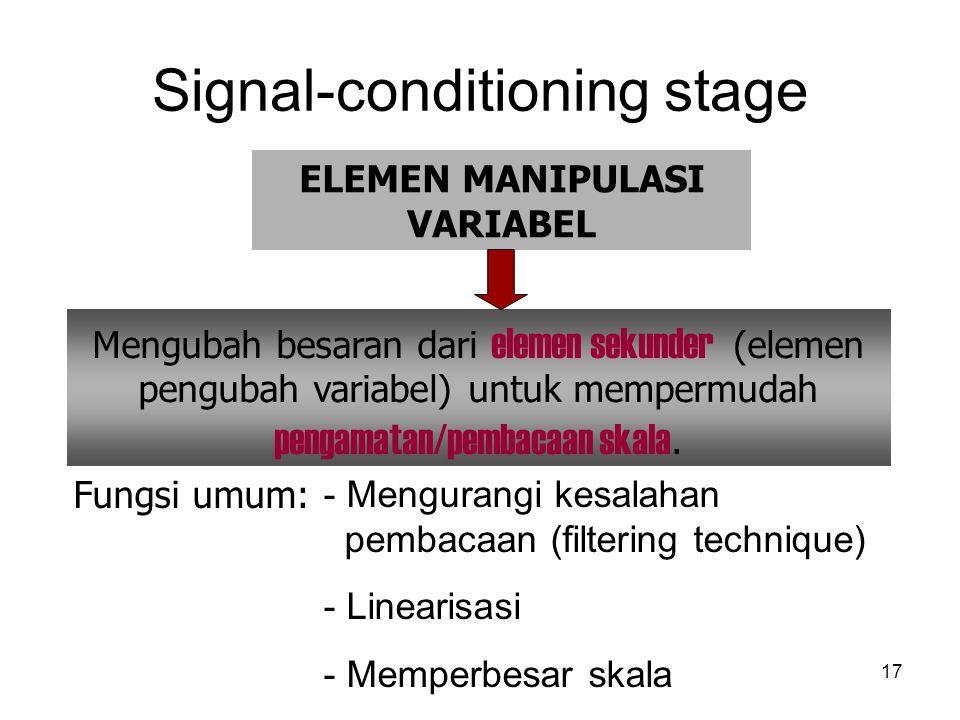 Signal-conditioning stage 17 Fungsi umum: - Mengurangi kesalahan pembacaan (filtering technique) - Linearisasi - Memperbesar skala ELEMEN MANIPULASI VARIABEL Mengubah besaran dari elemen sekunder (elemen pengubah variabel) untuk mempermudah pengamatan/pembacaan skala.