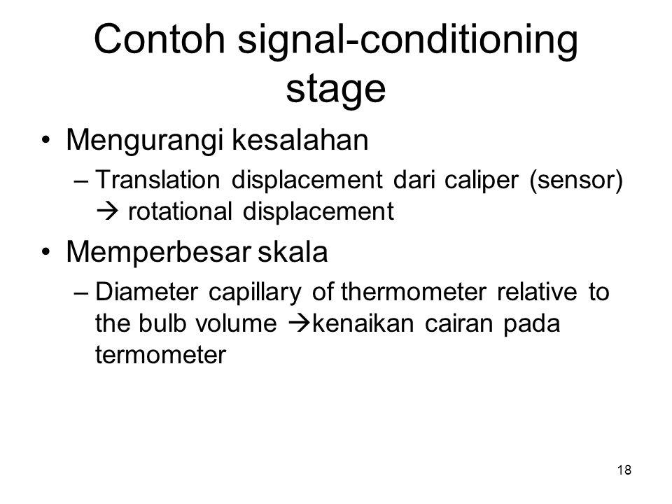 Contoh signal-conditioning stage Mengurangi kesalahan –Translation displacement dari caliper (sensor)  rotational displacement Memperbesar skala –Diameter capillary of thermometer relative to the bulb volume  kenaikan cairan pada termometer 18