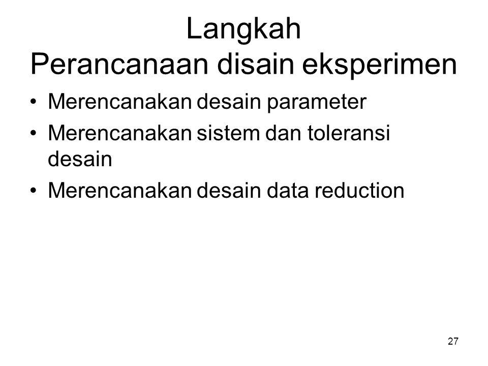 Langkah Perancanaan disain eksperimen Merencanakan desain parameter Merencanakan sistem dan toleransi desain Merencanakan desain data reduction 27