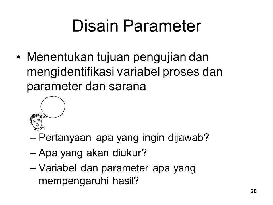 Disain Parameter Menentukan tujuan pengujian dan mengidentifikasi variabel proses dan parameter dan sarana –Pertanyaan apa yang ingin dijawab? –Apa ya