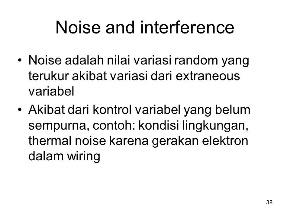 Noise and interference Noise adalah nilai variasi random yang terukur akibat variasi dari extraneous variabel Akibat dari kontrol variabel yang belum sempurna, contoh: kondisi lingkungan, thermal noise karena gerakan elektron dalam wiring 38
