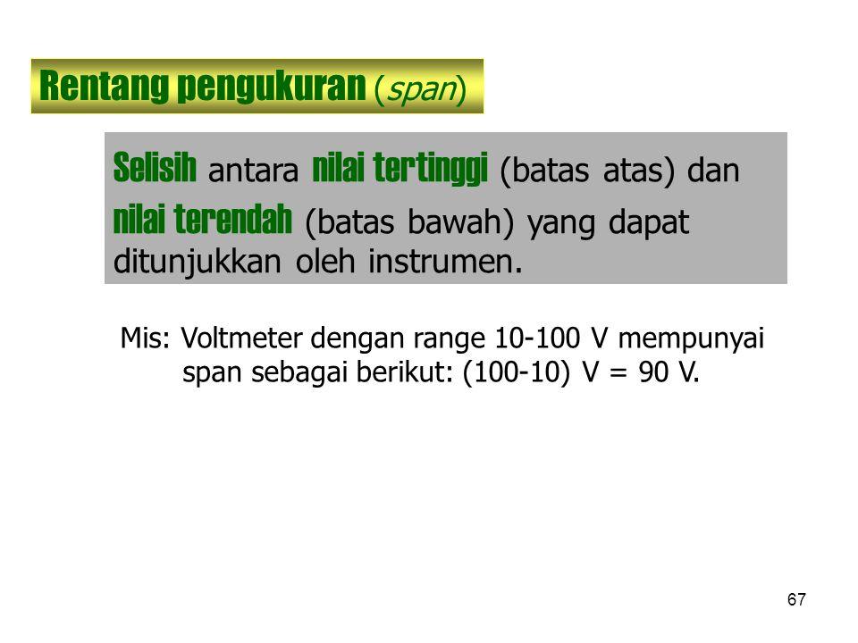 67 Rentang pengukuran (span) Selisih antara nilai tertinggi (batas atas) dan nilai terendah (batas bawah) yang dapat ditunjukkan oleh instrumen. Mis: