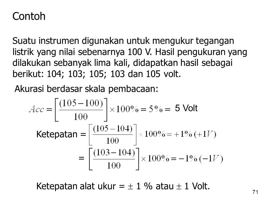 71 Contoh Suatu instrumen digunakan untuk mengukur tegangan listrik yang nilai sebenarnya 100 V. Hasil pengukuran yang dilakukan sebanyak lima kali, d