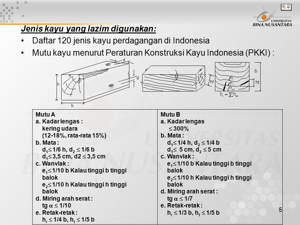 5 Jenis kayu yang lazim digunakan: Daftar 120 jenis kayu perdagangan di Indonesia Mutu kayu menurut Peraturan Konstruksi Kayu Indonesia (PKKI) : Mutu