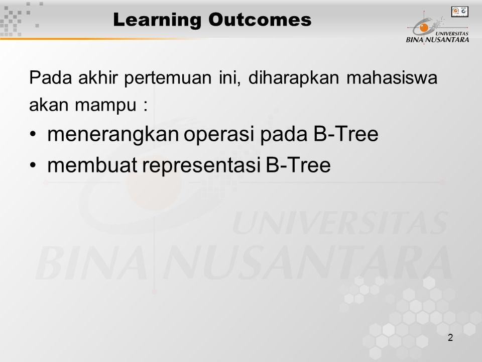 2 Learning Outcomes Pada akhir pertemuan ini, diharapkan mahasiswa akan mampu : menerangkan operasi pada B-Tree membuat representasi B-Tree