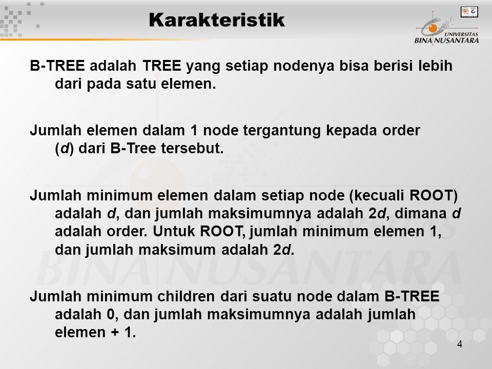 4 Karakteristik B-TREE adalah TREE yang setiap nodenya bisa berisi lebih dari pada satu elemen.
