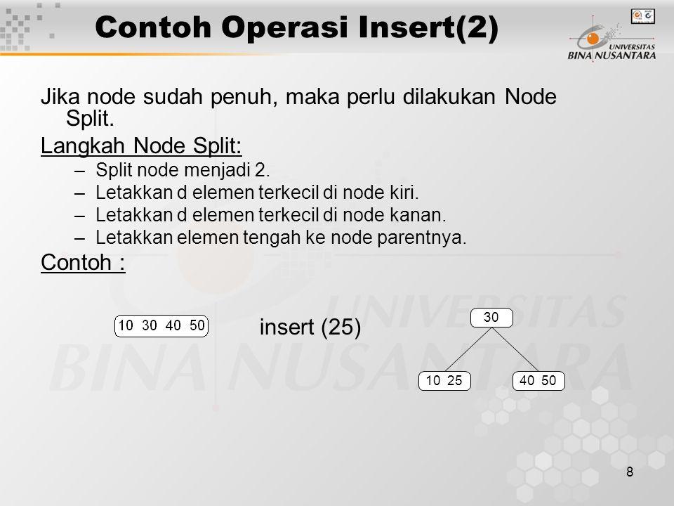 9 Operasi Delete Sebagaimana proses insert, proses delete dimulai dari leaf node.
