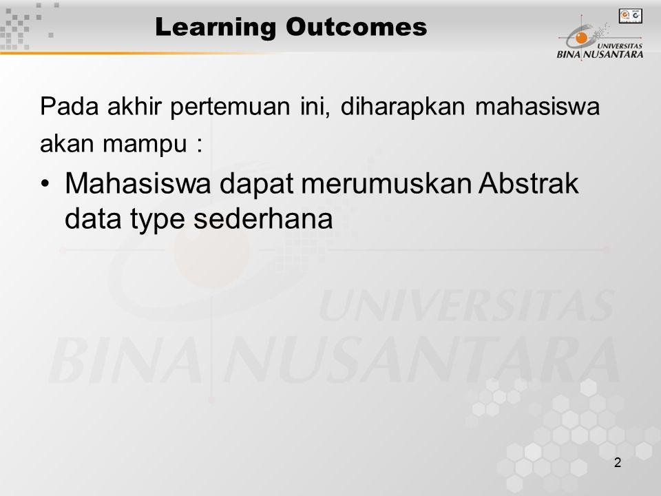 2 Learning Outcomes Pada akhir pertemuan ini, diharapkan mahasiswa akan mampu : Mahasiswa dapat merumuskan Abstrak data type sederhana