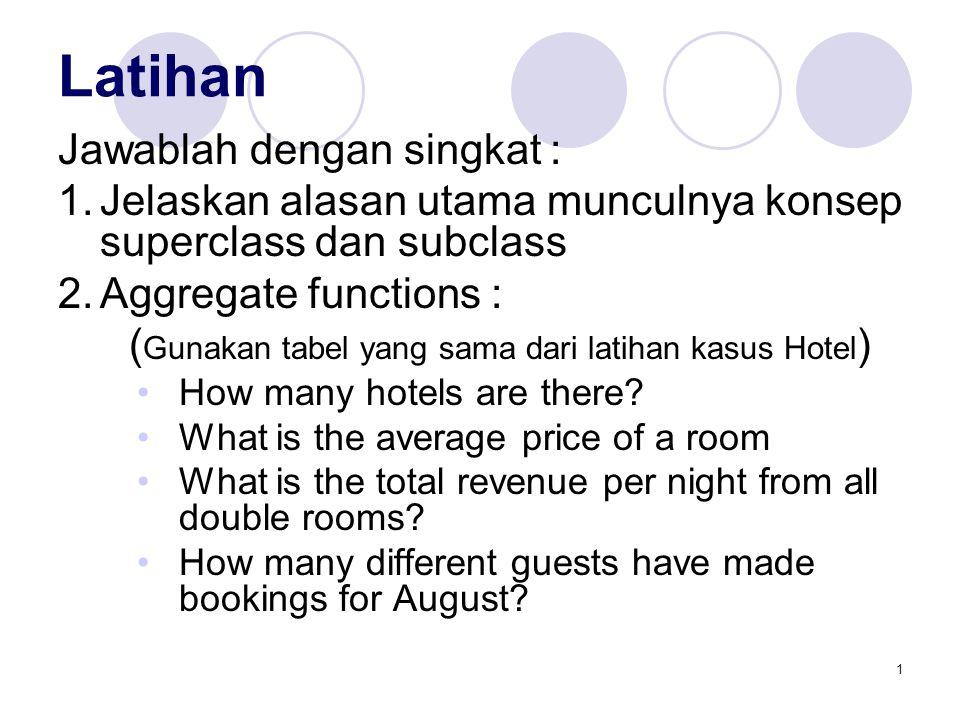 1 Latihan Jawablah dengan singkat : 1.Jelaskan alasan utama munculnya konsep superclass dan subclass 2.Aggregate functions : ( Gunakan tabel yang sama dari latihan kasus Hotel ) How many hotels are there.