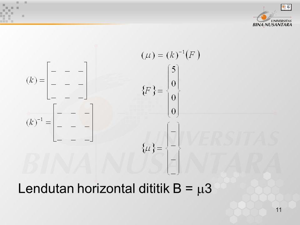 11 Lendutan horizontal dititik B =  3