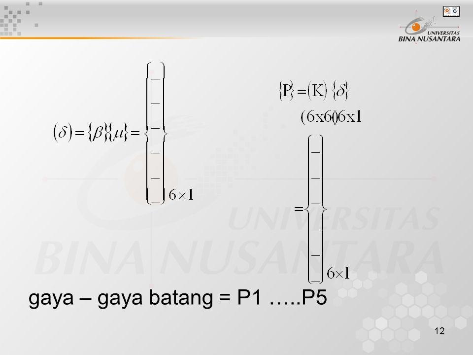 12 gaya – gaya batang = P1 …..P5