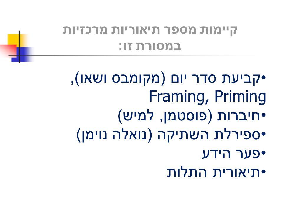 קיימות מספר תיאוריות מרכזיות במסורת זו : קביעת סדר יום ( מקומבס ושאו ), Framing, Priming חיברות ( פוסטמן, למיש ) ספירלת השתיקה ( נואלה נוימן ) פער היד
