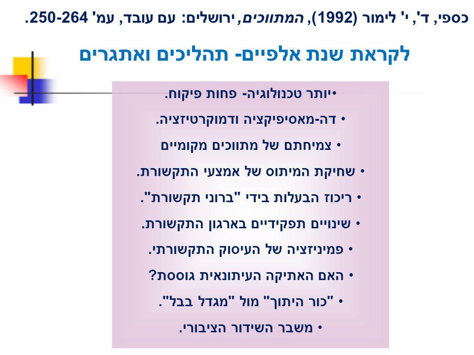 כספי, ד', י' לימור (1992), המתווכים, ירושלים: עם עובד, עמ' 250-264. לקראת שנת אלפיים- תהליכים ואתגרים יותר טכנולוגיה- פחות פיקוח. דה-מאסיפיקציה ודמוקר