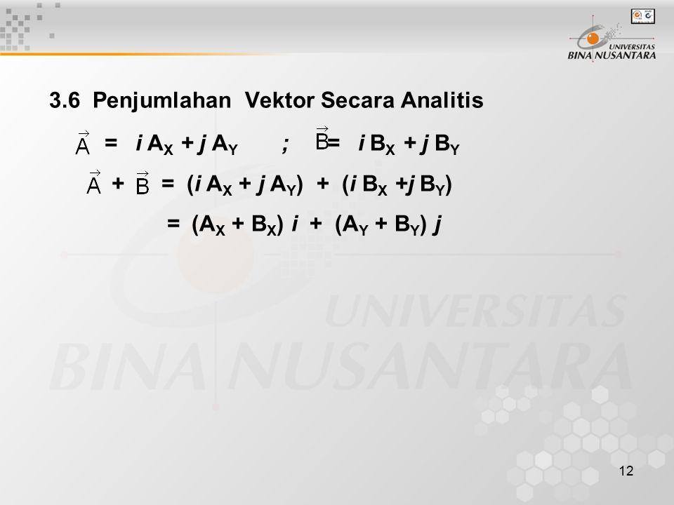 12 3.6 Penjumlahan Vektor Secara Analitis = i A X + j A Y ; = i B X + j B Y + = (i A X + j A Y ) + (i B X +j B Y ) = (A X + B X ) i + (A Y + B Y ) j