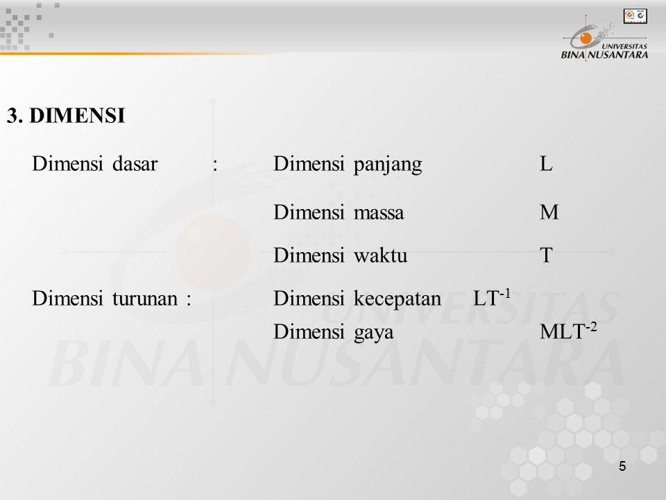 5 3. DIMENSI Dimensi dasar : Dimensi panjang L Dimensi massaM Dimensi waktuT Dimensi turunan : Dimensi kecepatan LT -1 Dimensi gaya MLT -2