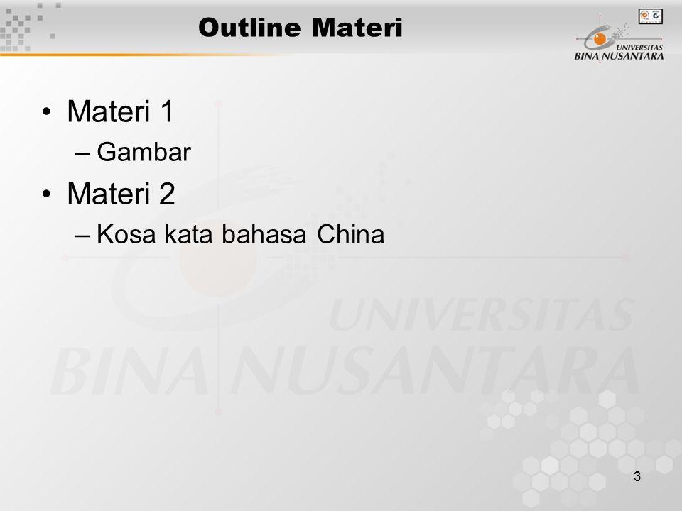 3 Outline Materi Materi 1 –Gambar Materi 2 –Kosa kata bahasa China