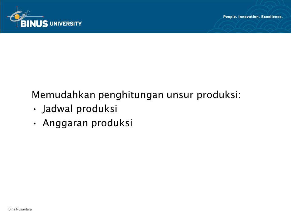 Bina Nusantara Memudahkan penghitungan unsur produksi: Jadwal produksi Anggaran produksi