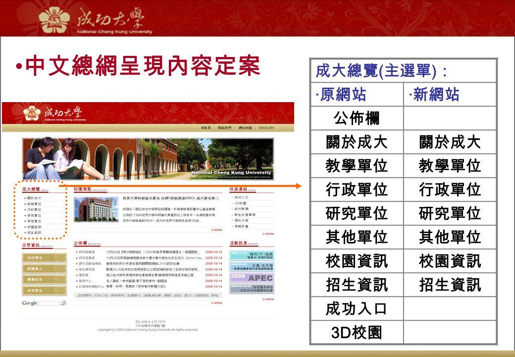 中文總網呈現內容定案 成大總覽 ( 主選單 ) : ‧原網站‧新網站 公佈欄 關於成大 教學單位 行政單位 研究單位 其他單位 校園資訊 招生資訊 成功入口 3D 校園