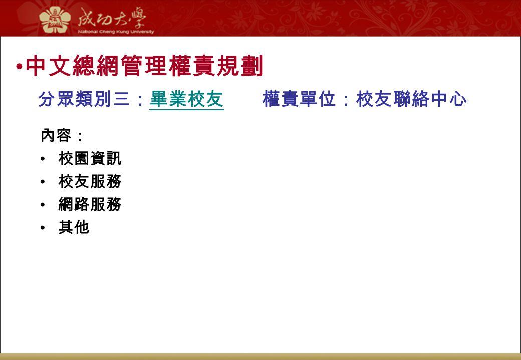 分眾類別三:畢業校友 權責單位:校友聯絡中心 中文總網管理權責規劃 內容: 校園資訊 校友服務 網路服務 其他