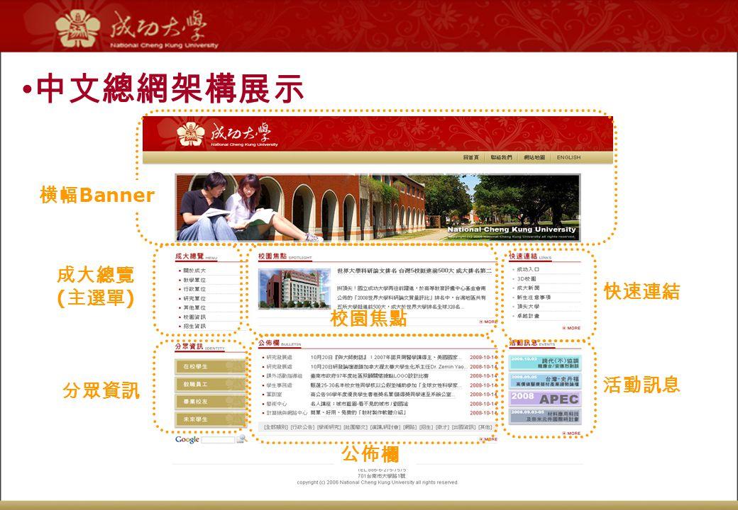 中文總網架構展示 横幅 Banner 成大總覽 ( 主選單 ) 校園焦點 公佈欄 快速連結 活動訊息 分眾資訊