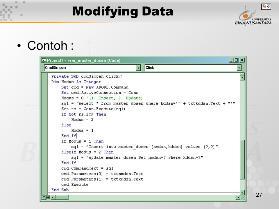 27 Modifying Data Contoh :