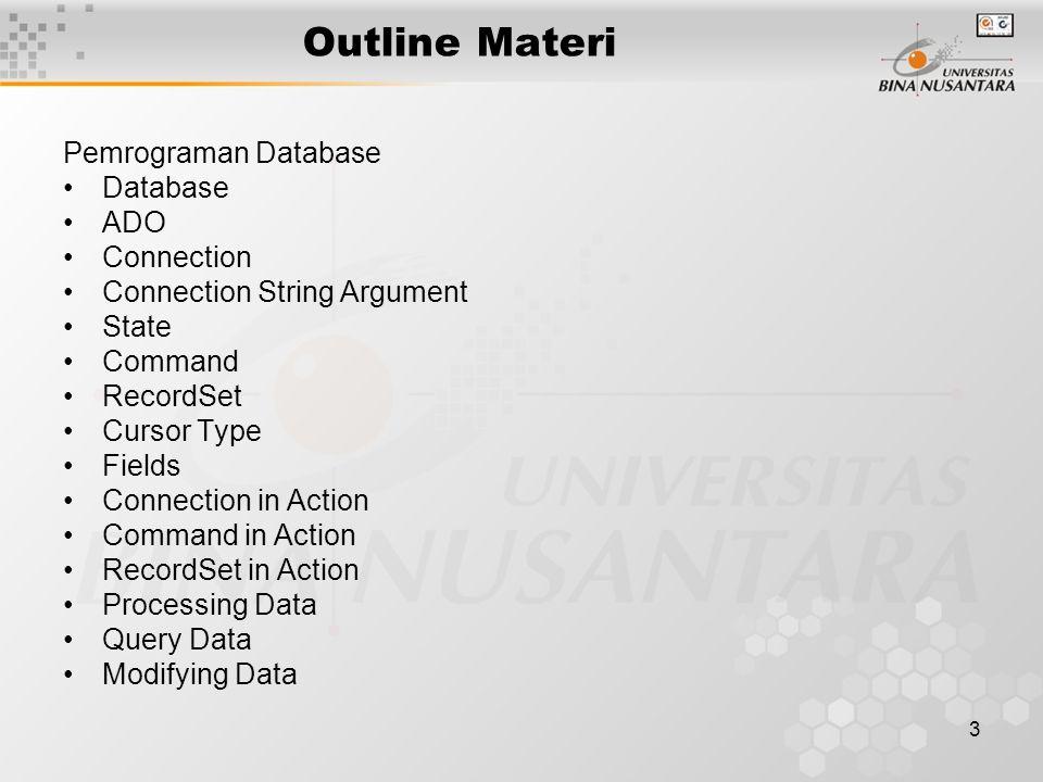 24 Modifying Data Modifying Record –Banyak record, menggunakan sintaks SQL –Satu record, menggunakan recordset Sintaks SQL –Select –Insert –Update –Delete SELECT * FROM table1 WHERE field=.