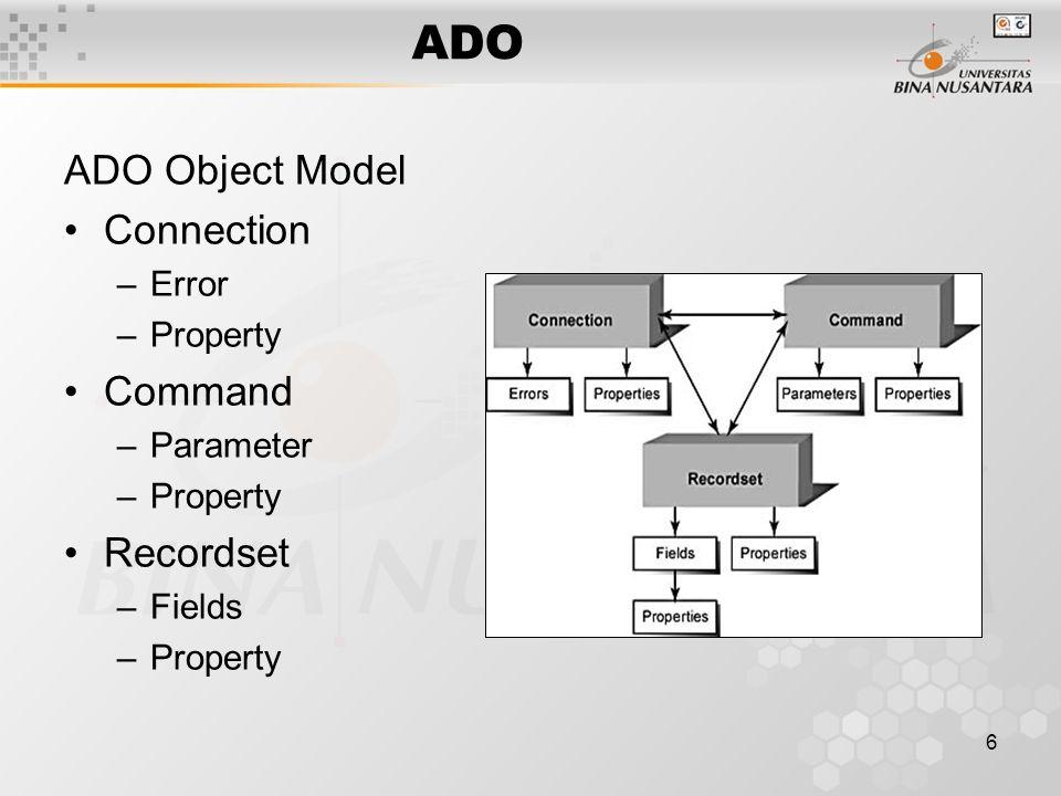 17 Command in Action Command –Deklarasi object Command –Hubungkan command dengan koneksi aktif –Tentukan spesifikasi query data –Jalankan command