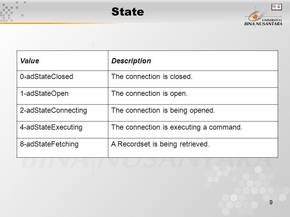 10 Command Characteristics –Berisi sintak SQL dan parameter untuk dieksekusi Properties –CommandText –ActiveConnection –Parameters Events –Tidak ada Methods –Execute –Cancel