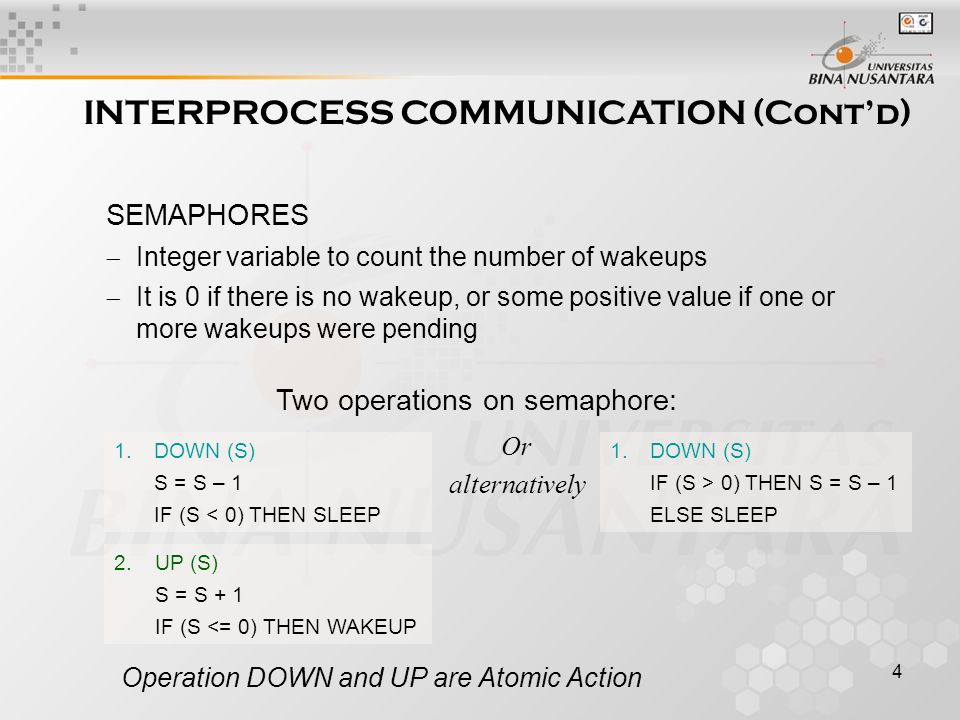4 Operation DOWN and UP are Atomic Action INTERPROCESS COMMUNICATION (Cont'd) SEMAPHORES  Integer variable to count the number of wakeups  It is 0 if there is no wakeup, or some positive value if one or more wakeups were pending 1.DOWN (S) S = S – 1 IF (S < 0) THEN SLEEP 2.UP (S) S = S + 1 IF (S <= 0) THEN WAKEUP Two operations on semaphore: 1.DOWN (S) IF (S > 0) THEN S = S – 1 ELSE SLEEP Or alternatively