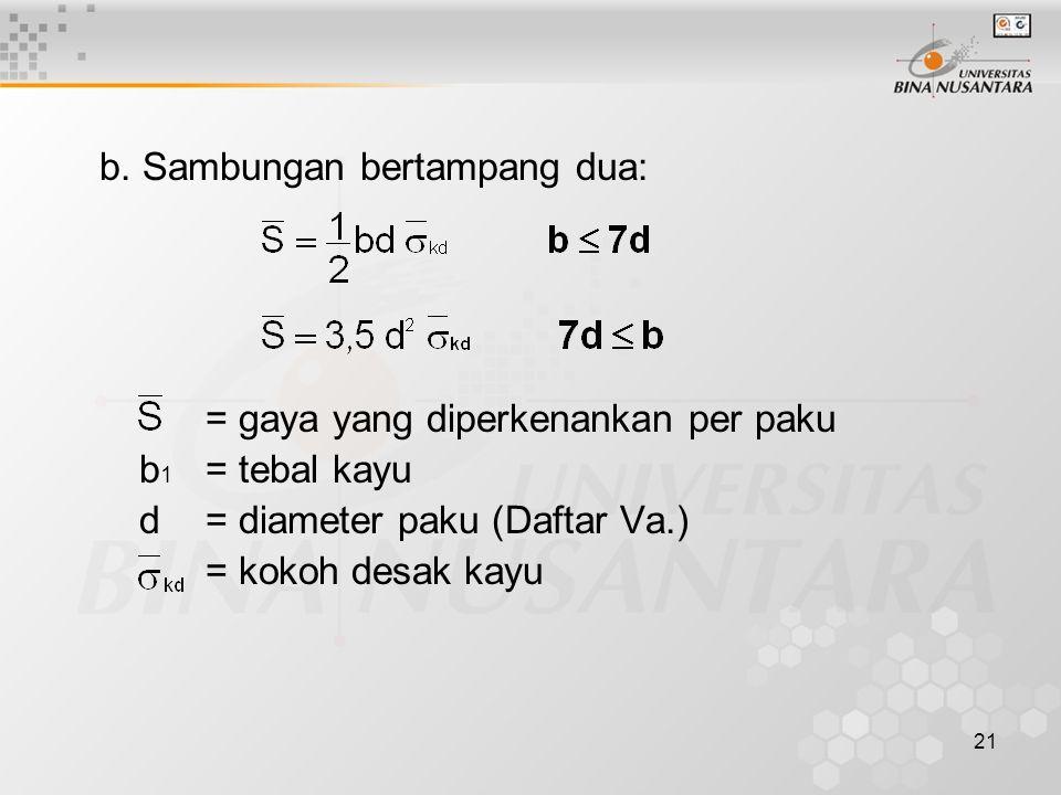 21 b. Sambungan bertampang dua: = gaya yang diperkenankan per paku b 1 = tebal kayu d= diameter paku (Daftar Va.) = kokoh desak kayu