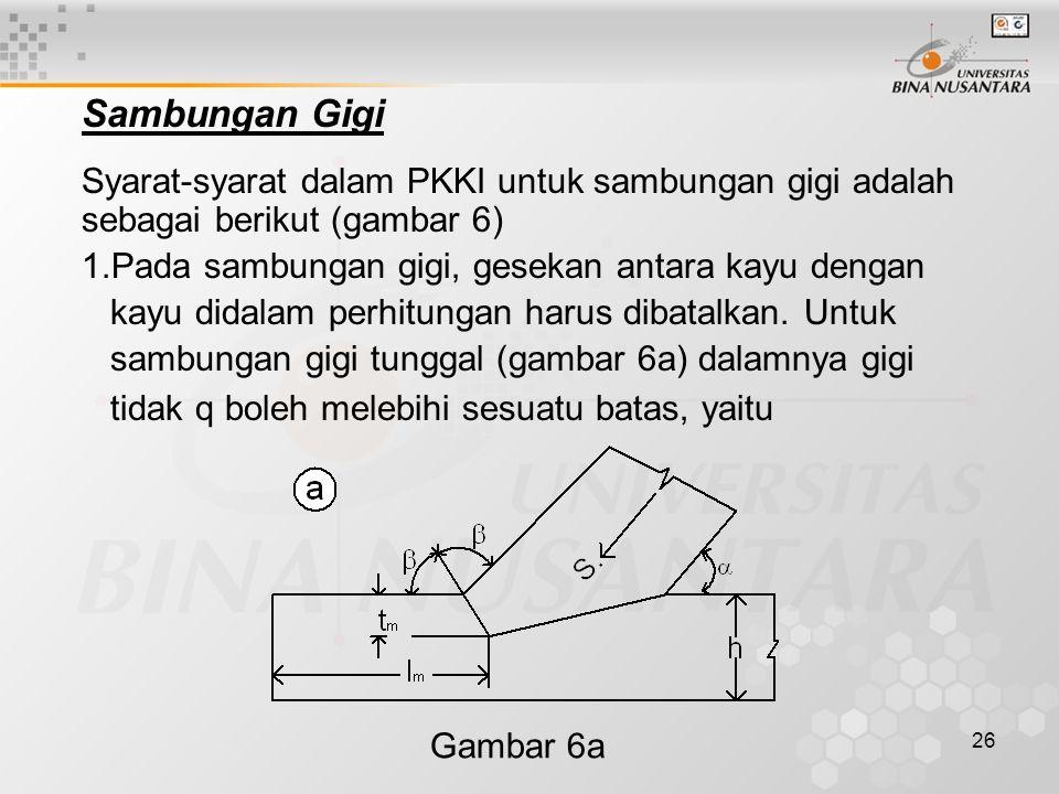 26 Sambungan Gigi Syarat-syarat dalam PKKI untuk sambungan gigi adalah sebagai berikut (gambar 6) 1.Pada sambungan gigi, gesekan antara kayu dengan ka