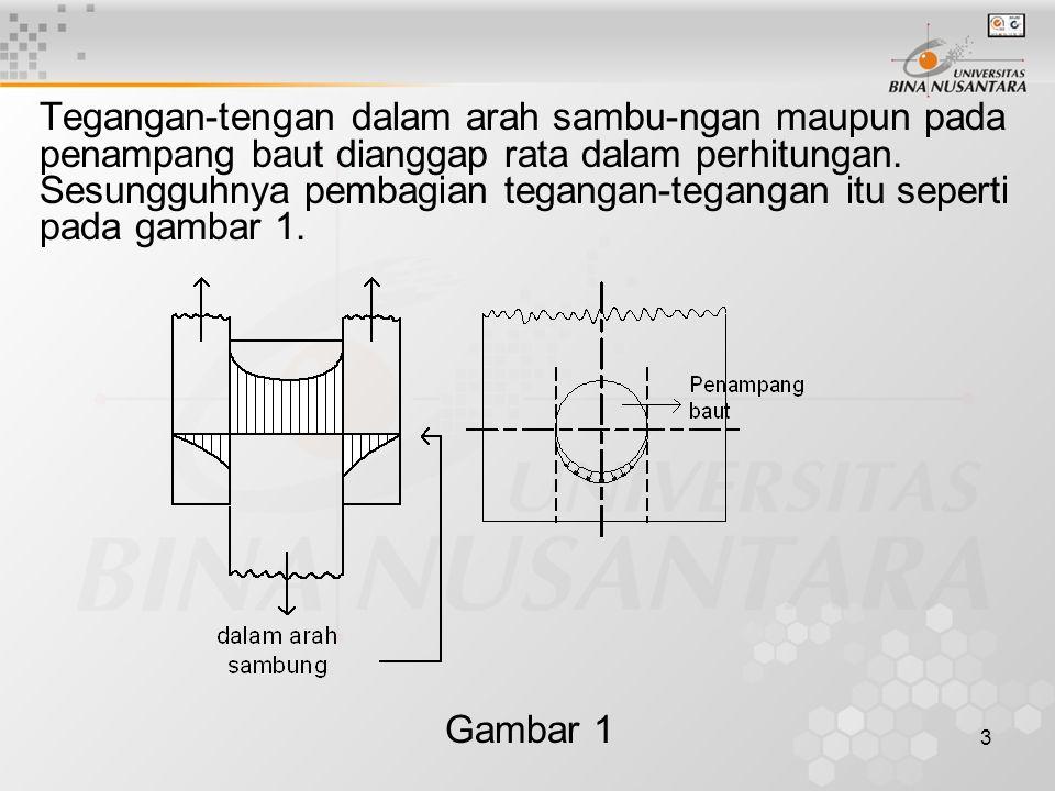 3 Tegangan-tengan dalam arah sambu-ngan maupun pada penampang baut dianggap rata dalam perhitungan. Sesungguhnya pembagian tegangan-tegangan itu seper