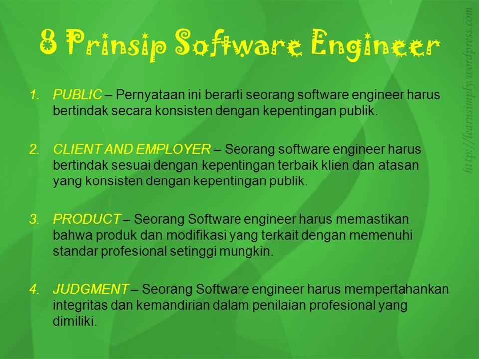 4.MANAGEMENT –Seorang pimpinan dan manajer Software engineering melakukan pendekatan etis kepada manajemen pengembangan perangkat lunak dan pemeliharaan.