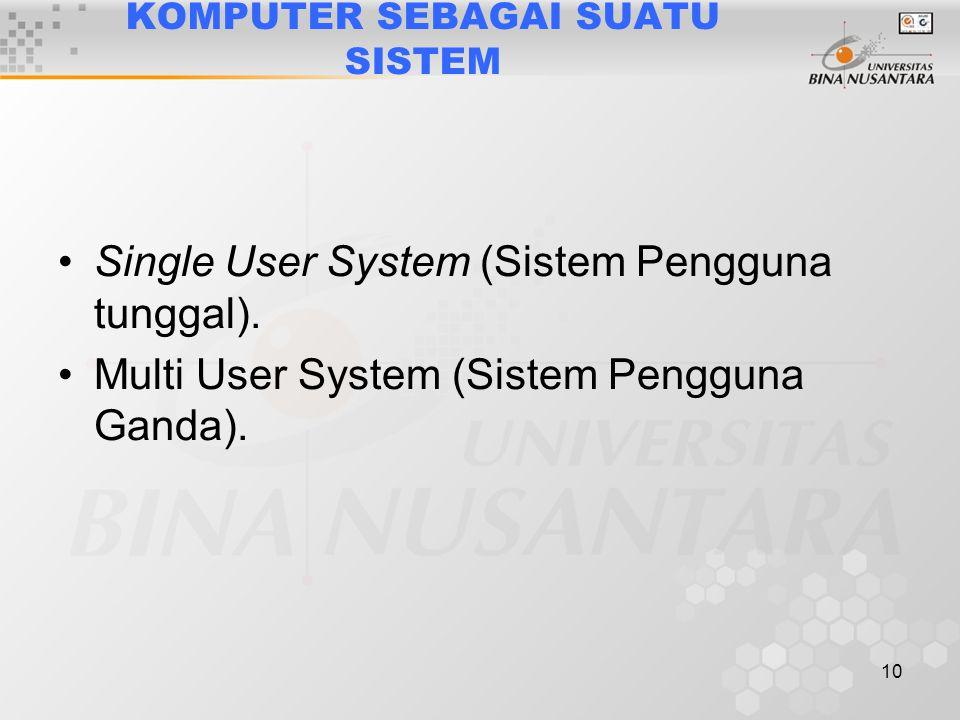 10 KOMPUTER SEBAGAI SUATU SISTEM Single User System (Sistem Pengguna tunggal).