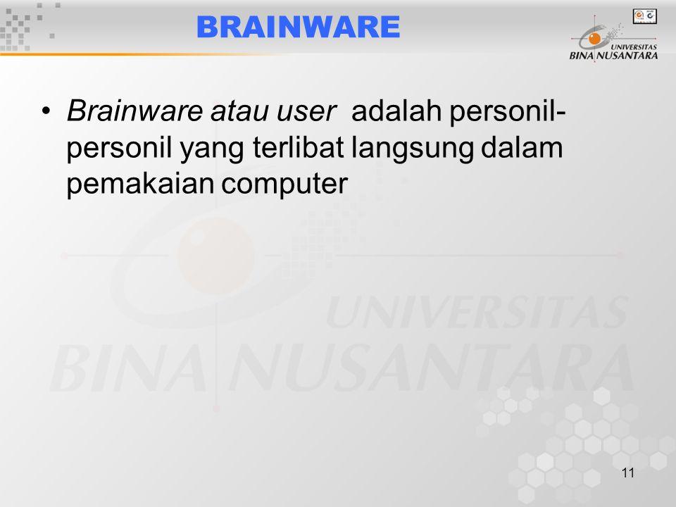 11 BRAINWARE Brainware atau user adalah personil- personil yang terlibat langsung dalam pemakaian computer