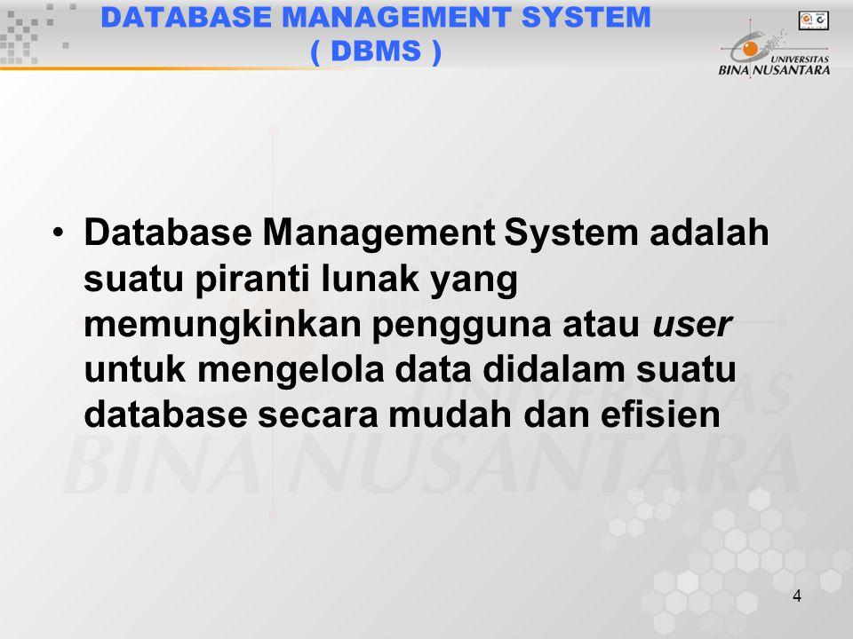 4 DATABASE MANAGEMENT SYSTEM ( DBMS ) Database Management System adalah suatu piranti lunak yang memungkinkan pengguna atau user untuk mengelola data didalam suatu database secara mudah dan efisien